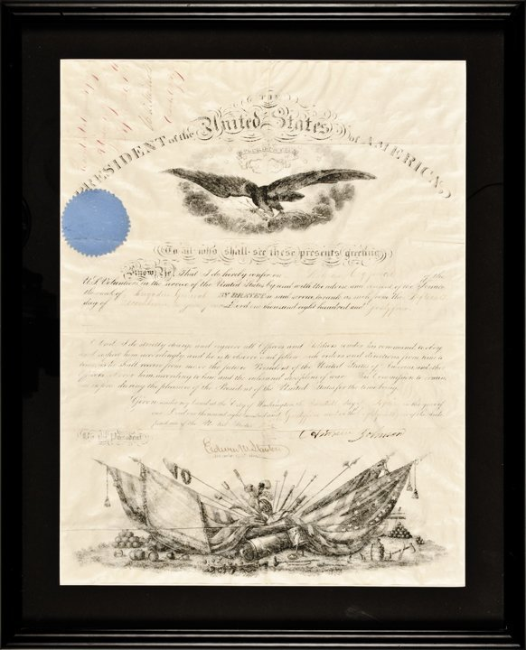 ANDREW JOHNSON. April 20, 1865 Commission Signed