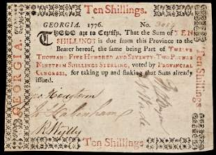 Colonial Currency, GA, 1776, 10s, PMG VF-20