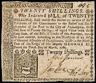 Colonial Currency, PA, March 10, 1769, 20s. VF