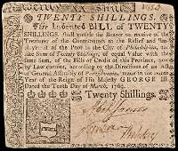 Colonial Currency, PA, Mar. 10, 1769 20s. VF