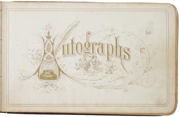 1877 Autograph Album With Ornate Original Art