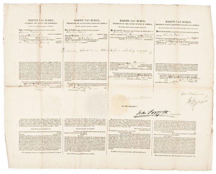 1839 MARTIN VAN BUREN Whaling Ship's Passport