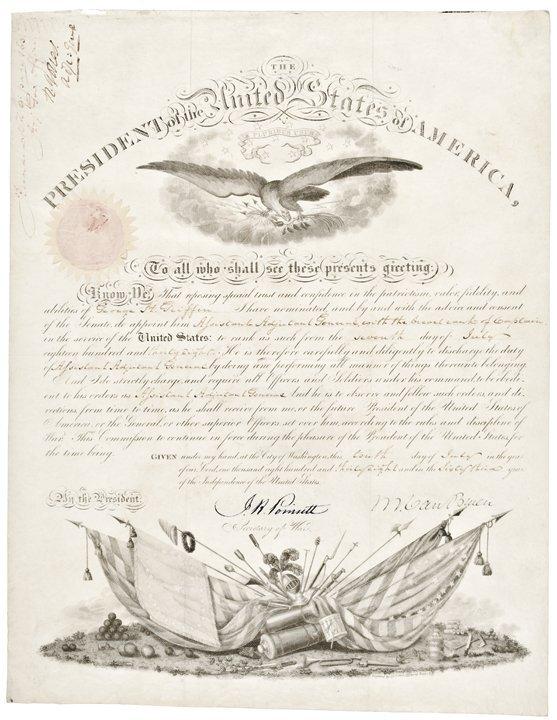 1838 MARTIN VAN BUREN Signed Military Commission