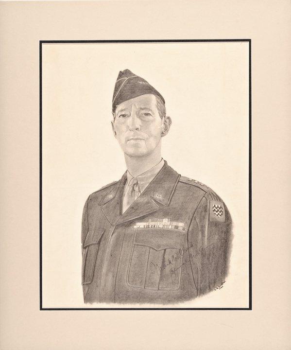 MARK W. CLARK, Signed Charcoal Portrait