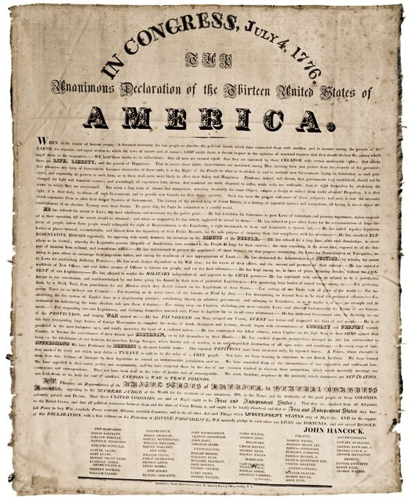 Declaration Of Independence c1825 Printed on Silk