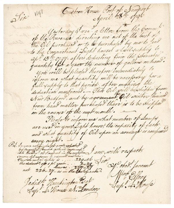 1796 Decl Signer WILLIAM ELLERY Autograph Letter