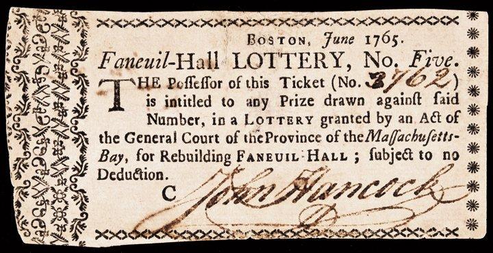 1765 JOHN HANCOCK Signed Faneuil-Hall LOTTERY