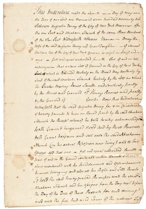 Autograph JOHN JAY Signed 1772 NY City Indenture