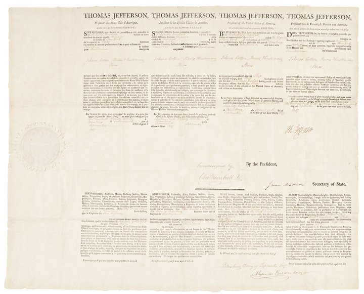 THOMAS JEFFERSON and JAMES MADISON Ship's Papers
