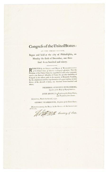 Superb 1791 THOMAS JEFFERSON Signed Resolution