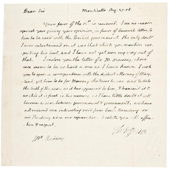 President THOMAS JEFFERSON ALS To Caesar Rodney