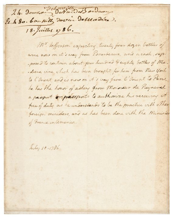 1786 THOMAS JEFFERSON ALS as Minister to France