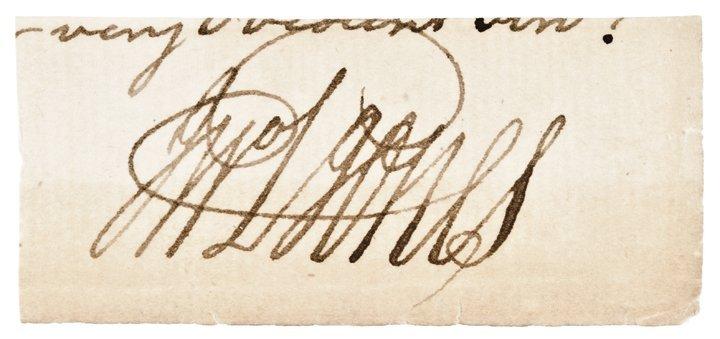 Very Rare JOHN PAUL JONES Clip From a Document