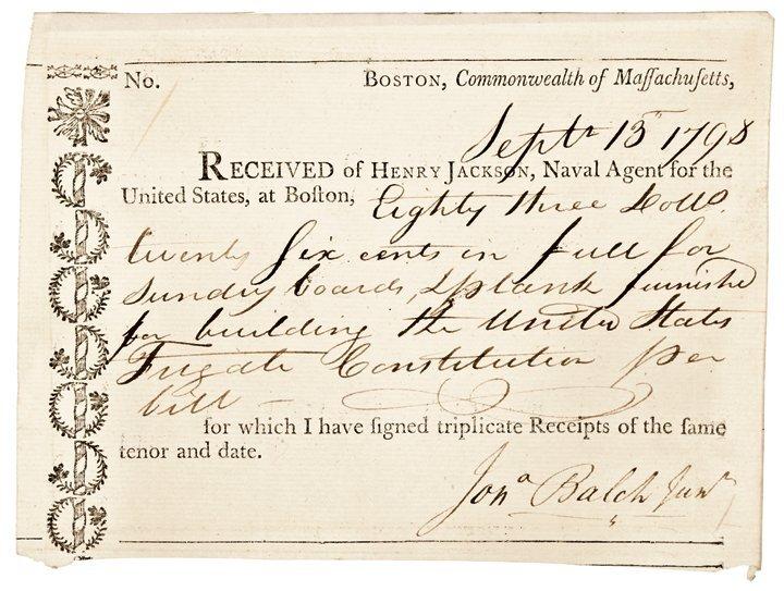 1798 USS CONSTITUTION Receipt - Boards & Planks