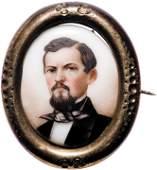 c 1865 Gilt Brass Locket Pin with General Hardee