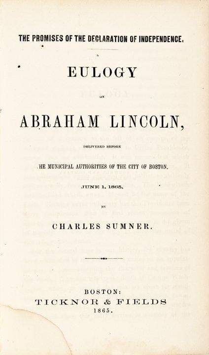 Abraham Lincoln Eulogy by Senator Charles Sumner