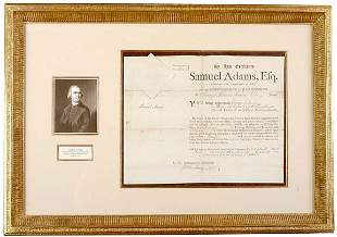 Lot 2: Samuel Adams Signed Appointment