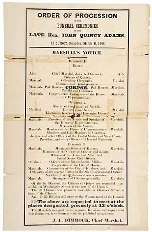 Lot 3:1848 Broadside John Q. Adams Funeral