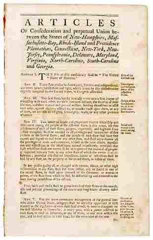 Lot 8: 1776 Articles of Confederation