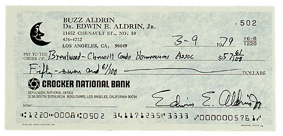 Lot    9: Astronaut Buzz Aldrin Signed Check