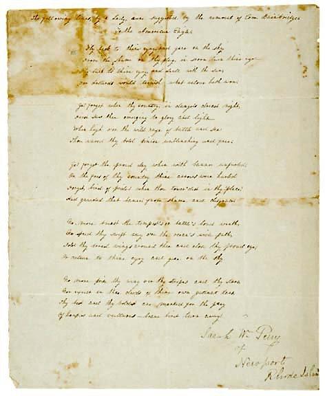 Lot   15: 1812 Poem Supporting  Bainbridge