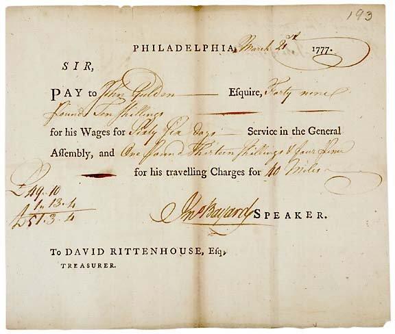 Lot   18: John Bayard Signed Document 1777