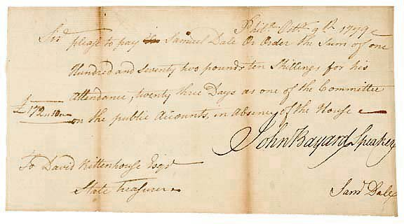 Lot   19: John Bayard Signed Document 1779