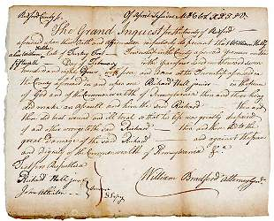 Lot 24: William Bradford Signed Document