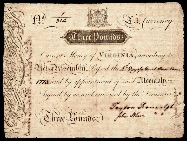Colonial Currency, VA April 1773 PEYTON RANDOLPH