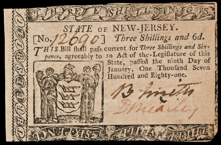 Colonial Currency NJ, DAVID BREARLEY PCGS New-60