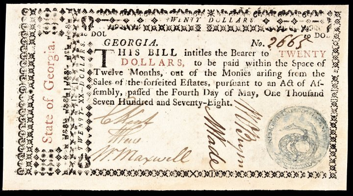Colonial Currency, GA. 1778 $20 PMG Choice Unc-64