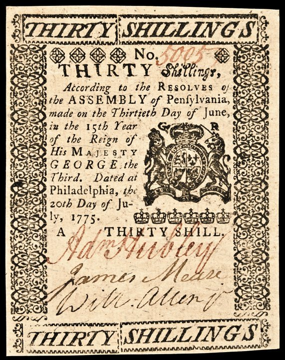 Colonial Currency, ADAM HUBLEY PA. July 20, 1775