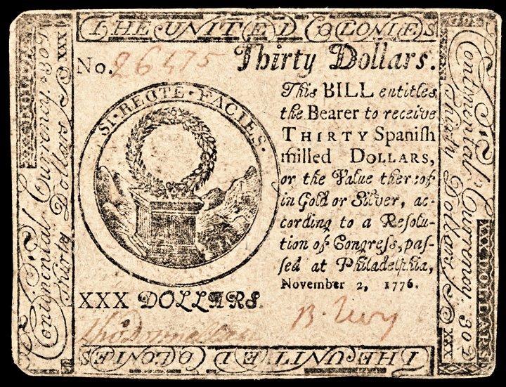 Continental Currency. Nov 2 1776. BENJAMIN LEVY