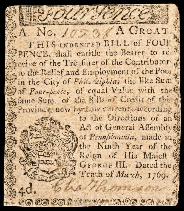 Colonial Currency 1769 PA CHARLES THOMSON Signed