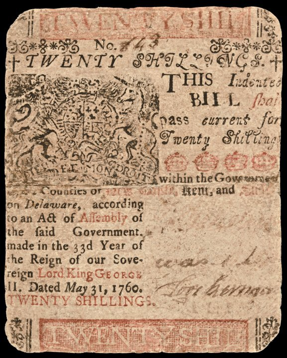 BENJAMIN FRANKLIN Printed, DE. May 31, 1760, 20s