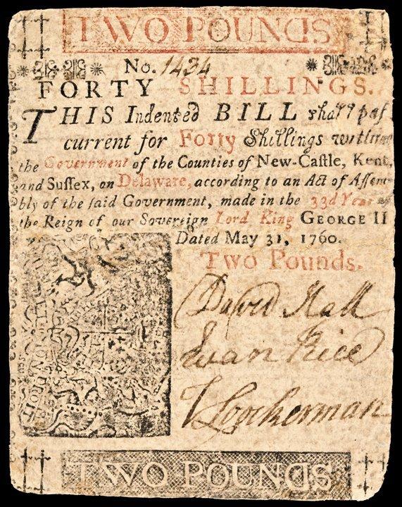 BENJAMIN FRANKLIN Printed Delaware. May 31, 1760