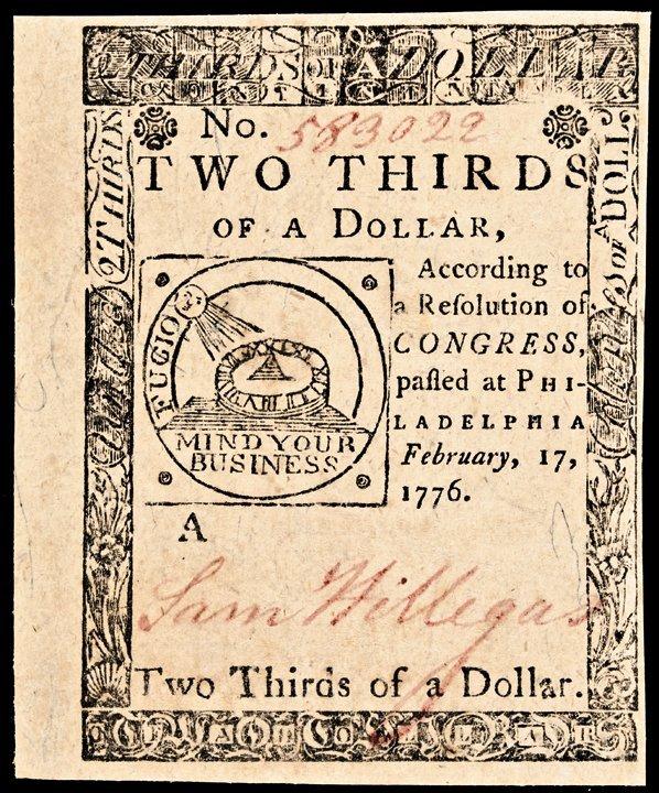 Continental Congress. Feb 17, 1776. $2/3. CU