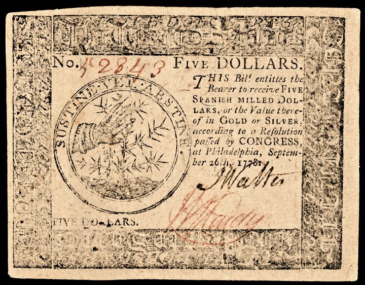 Continental Currency September 26, 1778, $5