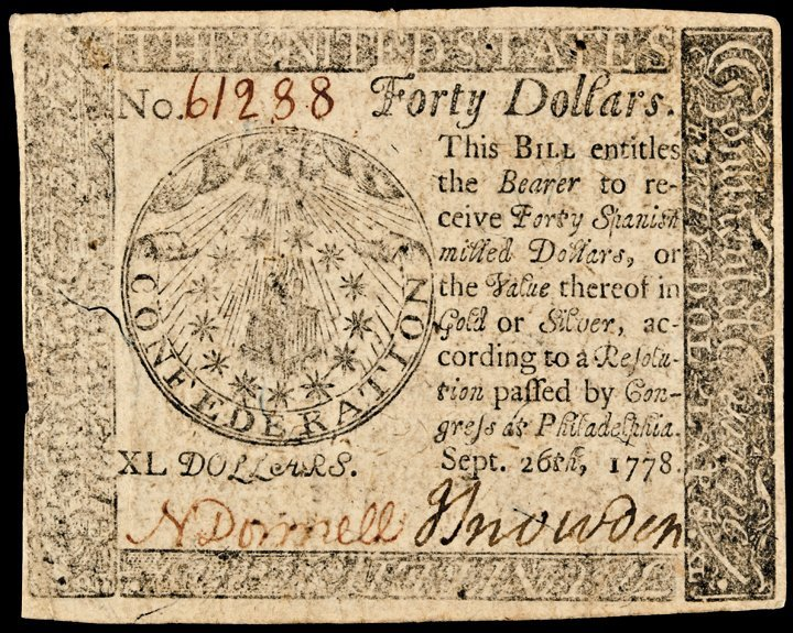 Continental Currency, September 26, 1778, $40