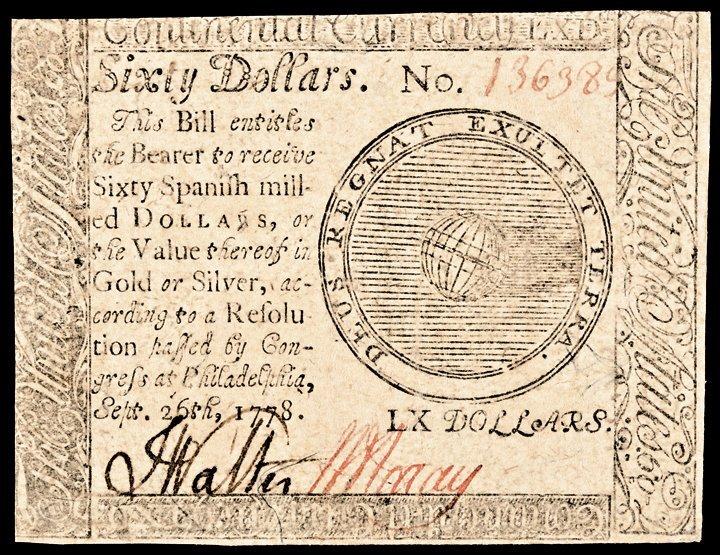 Continental Congress. September 26, 1778. $60 AU