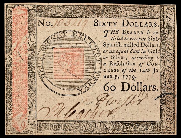 Continental Congress. January 14, 1779. $60. CU