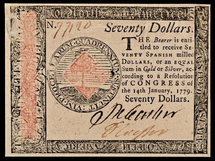 Continental Currency, January 14, 1779 $70 Ch AU