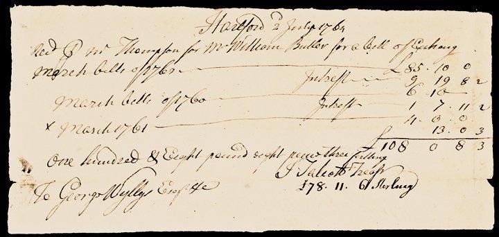 1764 Colonial CT Treasury Bills of Exchange