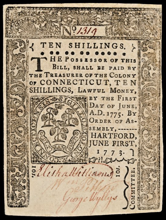Colonial Currency Ct. June 1, 1773 10s No Cancel