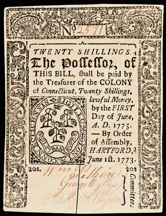 Colonial Currency, CT, June 1, 1773 20 Shillings