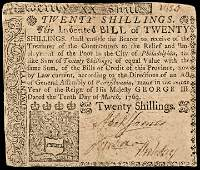 Colonial Currency, PA, March 10, 1769. 20s. VF