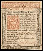 Colonial Currency, PA, March 20, 1771, 20s. EF