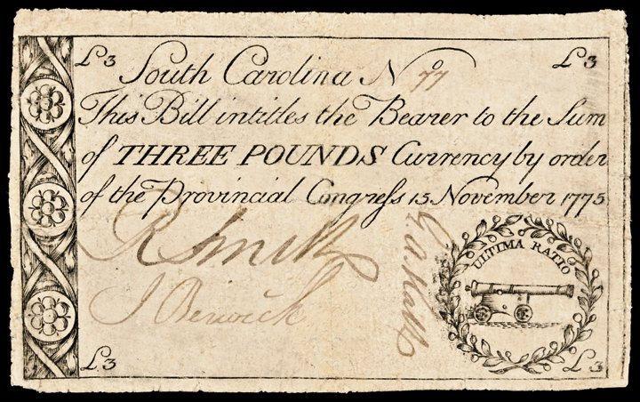 Colonial Currency SC. November 15, 1775 £3 CH VF
