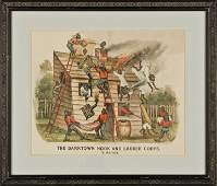 1884 Handcolored Currier  Ives Darktown Series Print