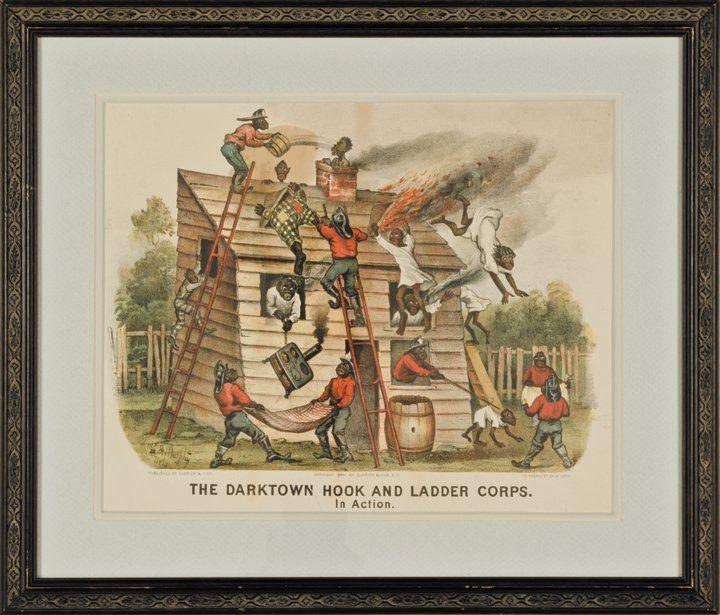 1884 Handcolored Currier + Ives Darktown Series Print
